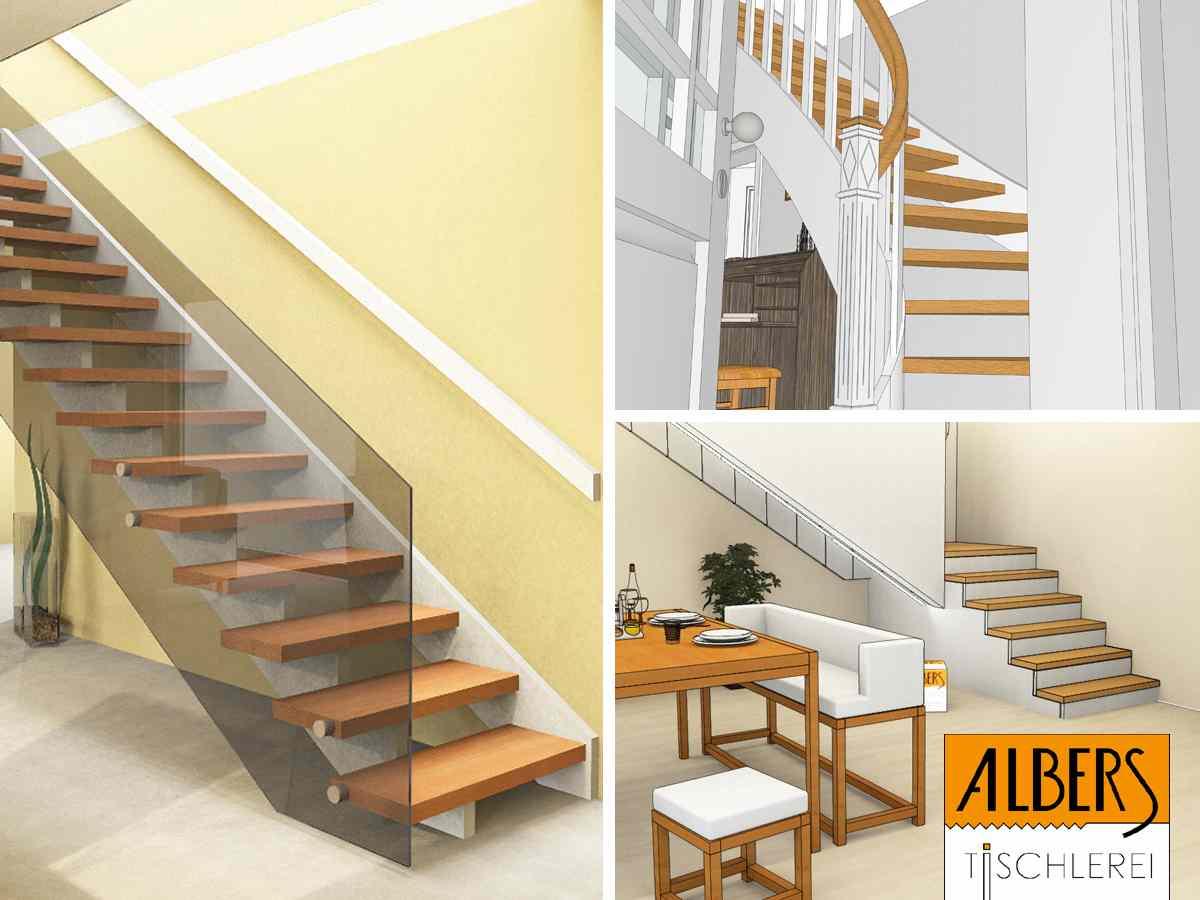 Treppe mit Sitzbank und Ablagefach
