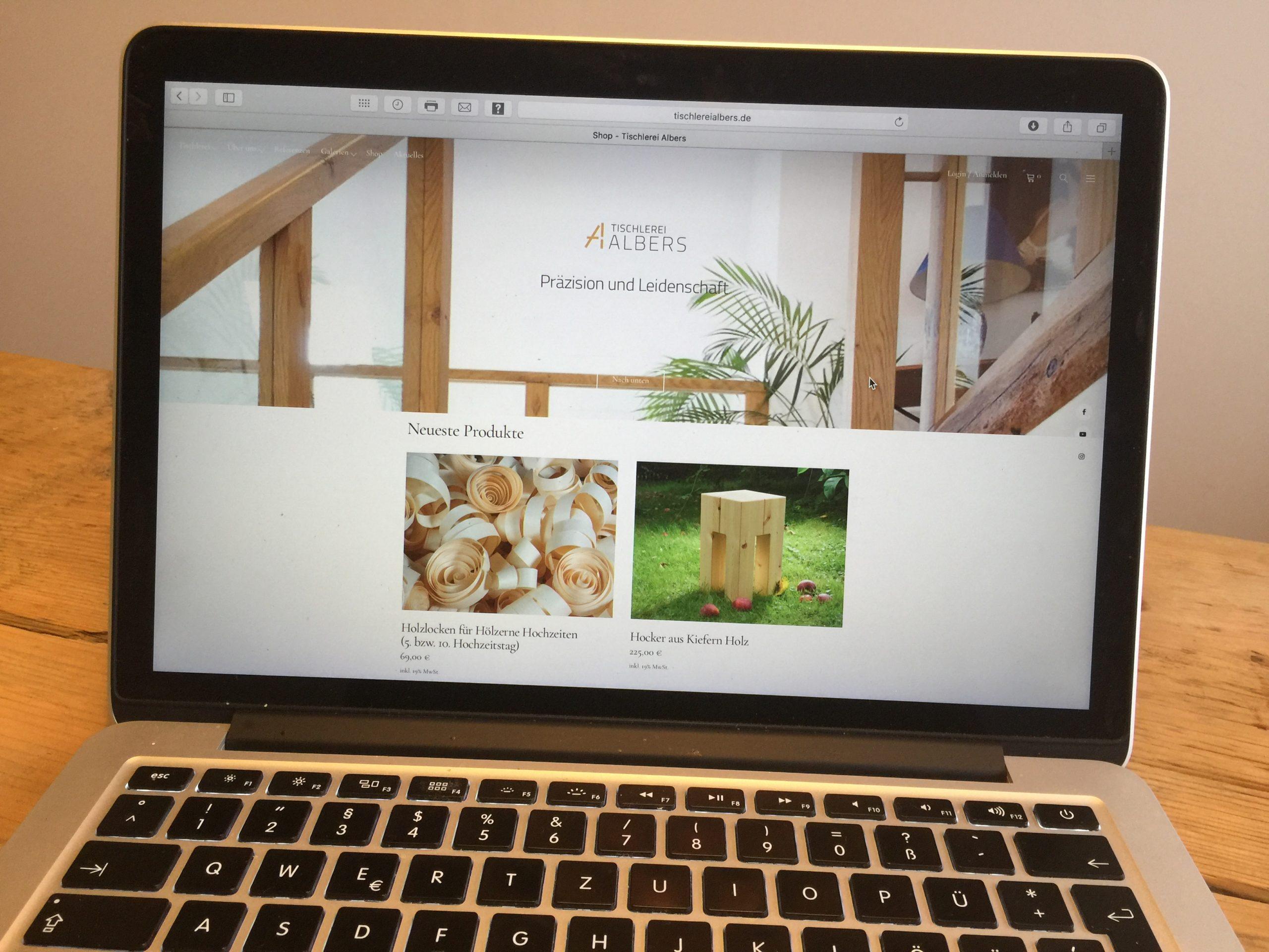 Neues Design: Tischlerei Albers im Netz. Plus ein feiner Online-Shop